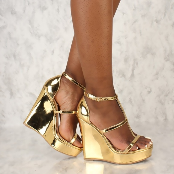 92c93a597f0 Strappy T-Strap Open Toe Platform Wedges Meta